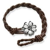 Dark Brown Woven Braided Leather Bracelet with Wildflower Clasp