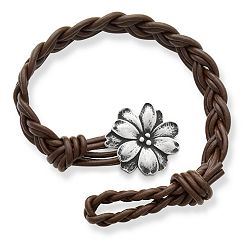 Dark Brown Double Cordovan Braided Leather Bracelet with Wildflower Clasp at James Avery