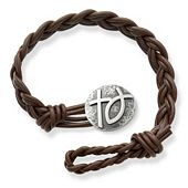 Dark Brown Double Cordovan Braided Leather Bracelet with Rustic Cross & Ichthus Clasp