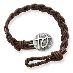Dark Brown Woven Braided Leather Bracelet with Rustic Cross & Ichthus Clasp at James Avery