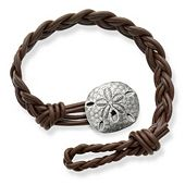 Dark Brown Woven Braided Leather Bracelet with Sand Dollar Clasp