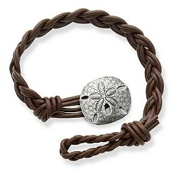Dark Brown Double Cordovan Braided Leather Bracelet with Sand Dollar Clasp at James Avery