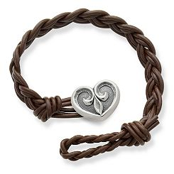 Dark Brown Woven Braided Leather Bracelet with Scrolled Heart Clasp at James Avery