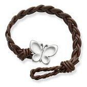Dark Brown Double Cordovan Braided Leather Bracelet with Butterfly Clasp