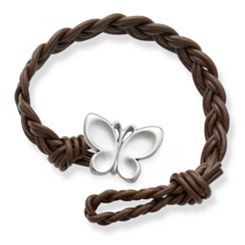 Dark Brown Woven Leather Bracelet with Butterfly Clasp at James Avery