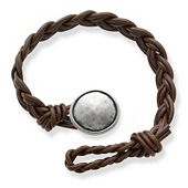 Dark Brown Double Cordovan Braided Leather Bracelet with Rustic Button Clasp