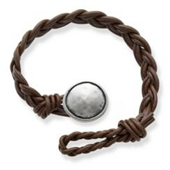 Dark Brown Double Cordovan Braided Leather Bracelet with Rustic Button Clasp at James Avery