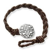 Dark Brown Double Cordovan Braided Leather Bracelet with Disciples Cross Clasp