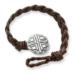 Dark Brown Double Cordovan Braided Leather Bracelet with Disciples Cross Clasp at James Avery