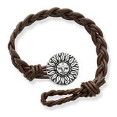 Dark Brown Woven Leather Bracelet with My Sunshine Clasp