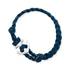 Blue Double Cordovan Braided Leather Bracelet with Anchor Clasp at James Avery