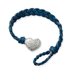 Blue Double Cordovan Braided Leather Bracelet with Textured Heart Clasp at James Avery