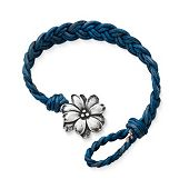 Blue Woven Braided Leather Bracelet with Wildflower Clasp