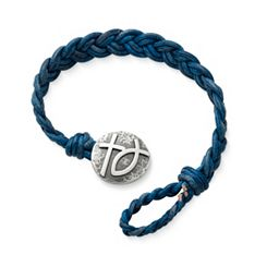 Blue Double Cordovan Braided Leather Bracelet with Rustic Cross & Ichthus Clasp at James Avery