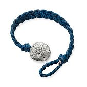 Blue Woven Braided Leather Bracelet with Sand Dollar Clasp