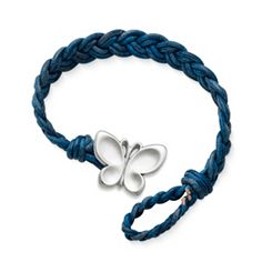 Blue Double Cordovan Braided Leather Bracelet with Butterfly Clasp at James Avery