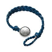 Blue Woven Leather Bracelet with Rustic Button Clasp