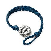 Blue Woven Leather Bracelet with Disciples Cross Clasp