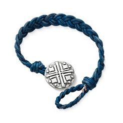 Blue Double Cordovan Braided Leather Bracelet with Disciples Cross Clasp at James Avery