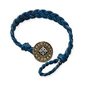 Blue Woven Leather Bracelet with Point the Way Button Clasp