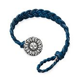 Blue Woven Leather Bracelet with My Sunshine Clasp