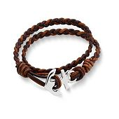 Cappuccino Woven Leather Bracelet with Anchor Clasp