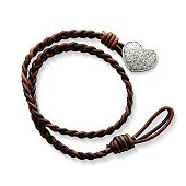 Cappuccino Wrapped Braided Leather Bracelet with Textured Heart Clasp