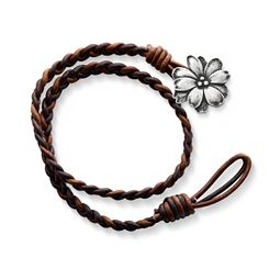 Cappuccino Wrapped Braided Leather Bracelet with Wildflower Clasp at James Avery