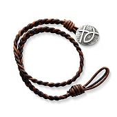 Cappuccino Wrapped Braided Leather Bracelet with Rustic Cross & Ichthus Clasp