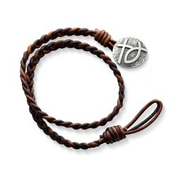 Cappuccino Wrapped Braided Leather Bracelet with Rustic Cross & Ichthus Clasp at James Avery