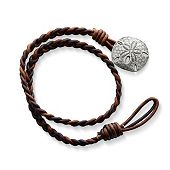 Cappuccino Wrapped Braided Leather Bracelet with Sand Dollar Clasp