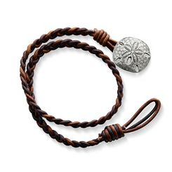 Cappuccino Wrapped Braided Leather Bracelet with Sand Dollar Clasp at James Avery