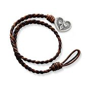 Cappuccino Wrapped Braided Leather Bracelet with Scrolled Heart Clasp