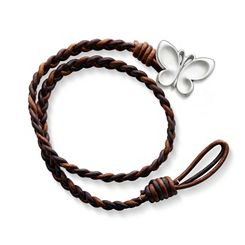 Cappuccino Wrapped Braided Leather Bracelet with Butterfly Clasp at James Avery