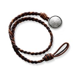 Cappuccino Wrapped Braided Leather Bracelet with Rustic Button Clasp at James Avery