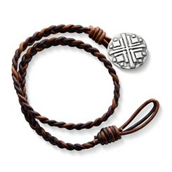 Cappuccino Wrapped Braided Leather Bracelet with Disciples Cross Clasp at James Avery