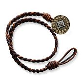 Cappuccino Wrapped Braided Leather Bracelet with Point the Way Button Clasp