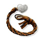 Chocolate Chip Woven Leather Bracelet with Textured Heart Clasp