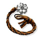 Chocolate Chip Woven Leather Bracelet with Wildflower Clasp