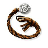 Chocolate Chip Woven Leather Bracelet with Rustic Cross & Ichthus Clasp