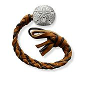 Chocolate Chip Woven Leather Bracelet with Sand Dollar Clasp