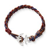 Vintage Americana Woven Leather Bracelet with Anchor Clasp
