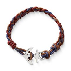 Vintage Americana Woven Leather Bracelet with Anchor Clasp at James Avery
