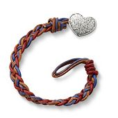Vintage Americana Woven Leather Bracelet with Textured Heart Clasp