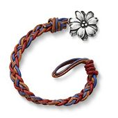 Vintage Americana Woven Leather Bracelet with Wildflower Clasp