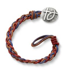 Vintage Americana Woven Leather Bracelet with Rustic Cross & Ichthus Clasp at James Avery