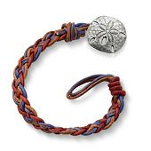 Vintage Americana Woven Leather Bracelet with Sand Dollar Clasp