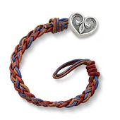 Vintage Americana Woven Leather Bracelet with Scrolled Heart Clasp