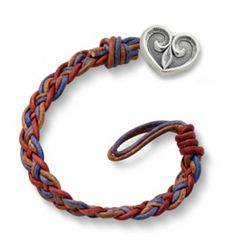 Vintage Americana Woven Leather Bracelet with Scrolled Heart Clasp at James Avery