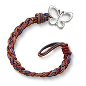 Vintage Americana Woven Leather Bracelet with Butterfly Clasp